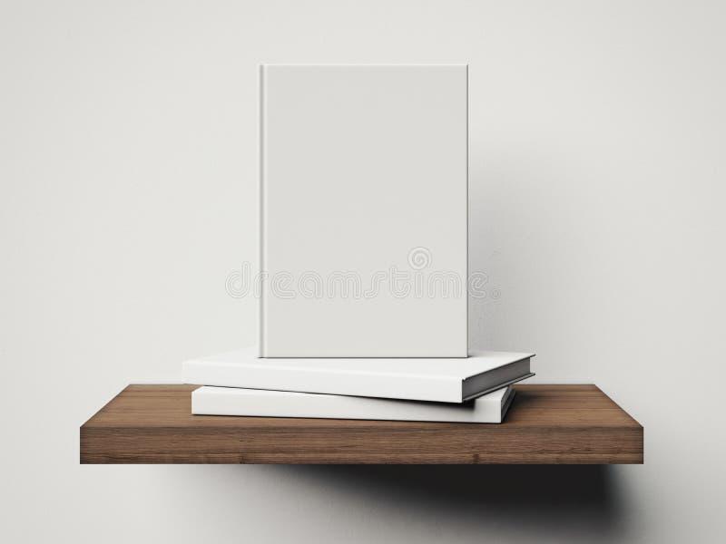 Cztery białej książki na brown półce świadczenia 3 d ilustracja wektor