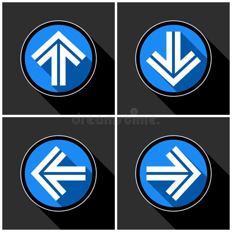 Cztery biały, błękitne strzała z czarnymi cieniami ilustracji