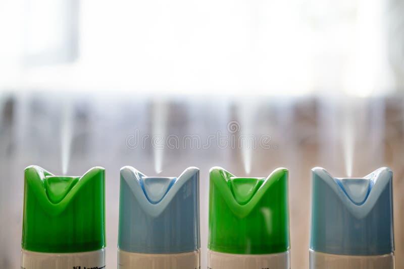 Cztery butla lotniczy freshener z rzędu fotografia stock