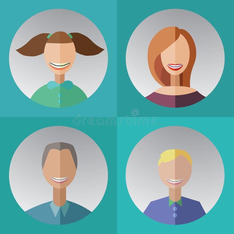 cztery członka rodziny z stomatologicznymi brasami ilustracja wektor