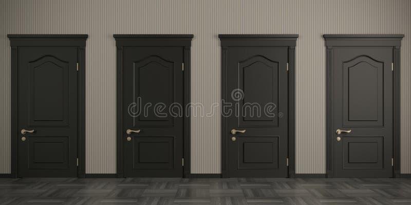 Cztery czarnego drzwi na ścianie zdjęcia stock