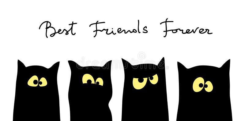 Cztery czarnych kotów sylwetki z różnymi hartowność ilustracja wektor