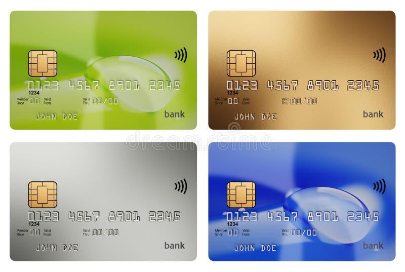 Cztery 3d kredytowych kart ilustraci różnego bezprzewodowego mockup ilustracja wektor