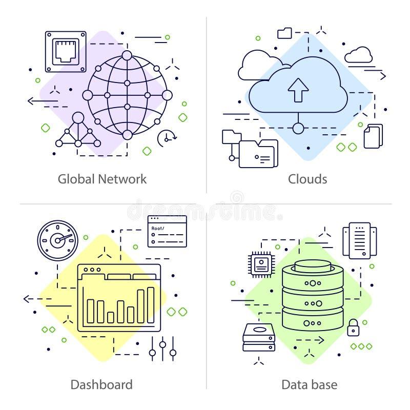 Cztery Datacenter ikony set ilustracja wektor