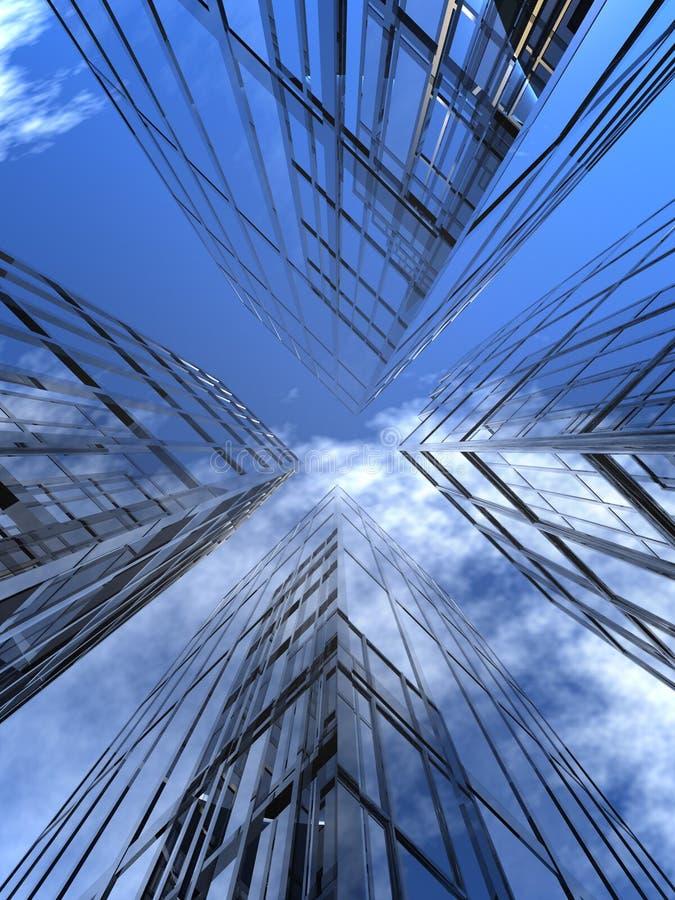 cztery drapacza chmur ilustracji