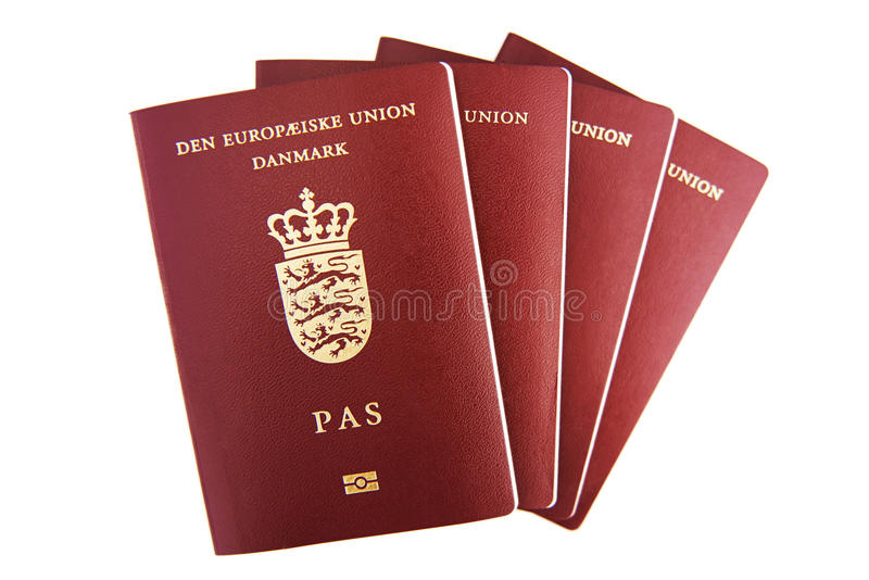 Cztery duńskiego paszporta fotografia royalty free