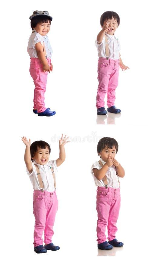 Cztery działający pełny ciało azjatykci dziecko bielu tło zdjęcie stock