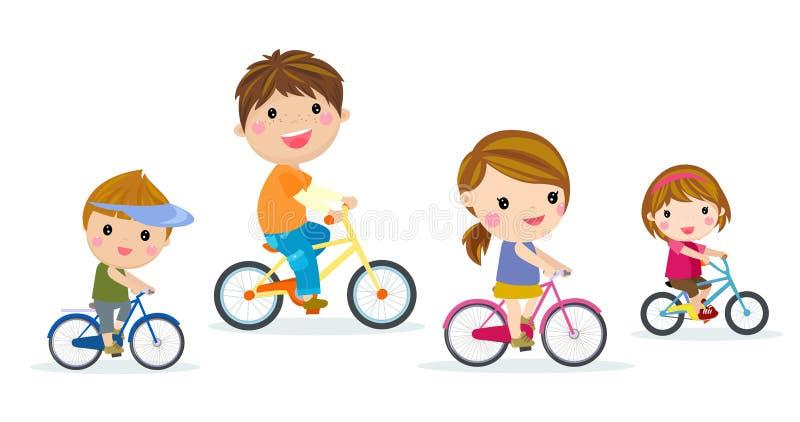 Cztery dzieci jechać na rowerze ilustracji