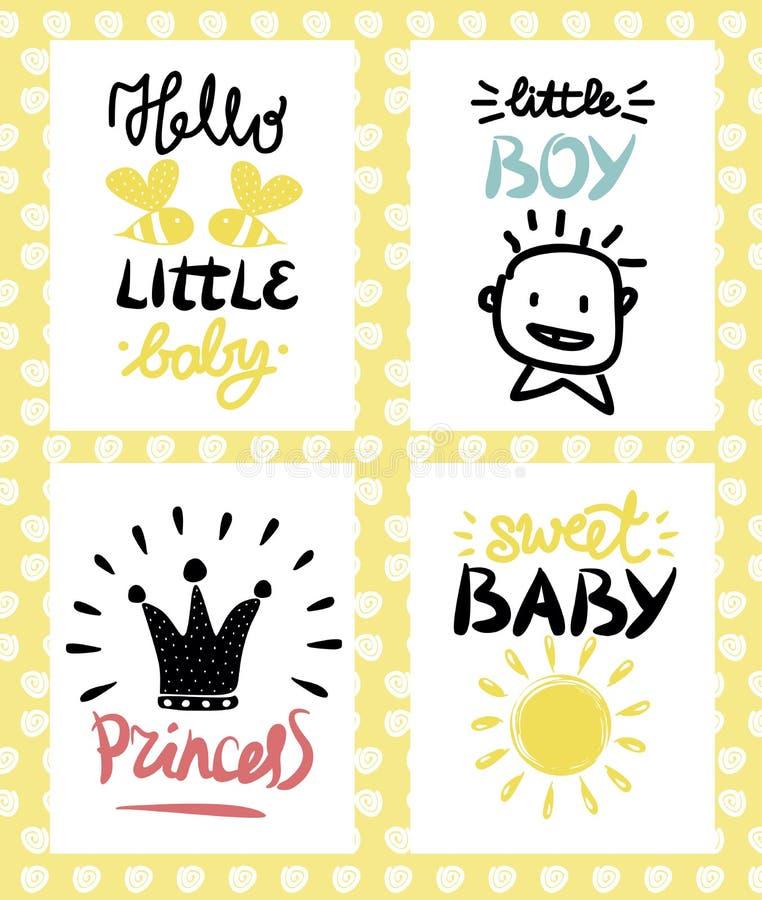 Cztery dzieci s logo z handwriting Cześć trochę dziecka Princecc cukierki chłopiec royalty ilustracja