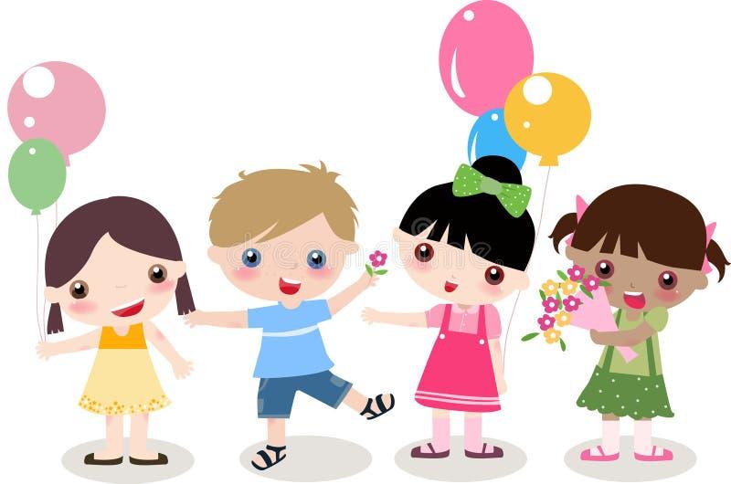 cztery dzieciaka ilustracja wektor
