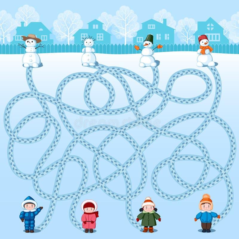 Cztery dziecka robią cztery bałwanu Znalezisko czyj jest gdzie? Dziecka ` s obrazek z rzeszotem ilustracja wektor