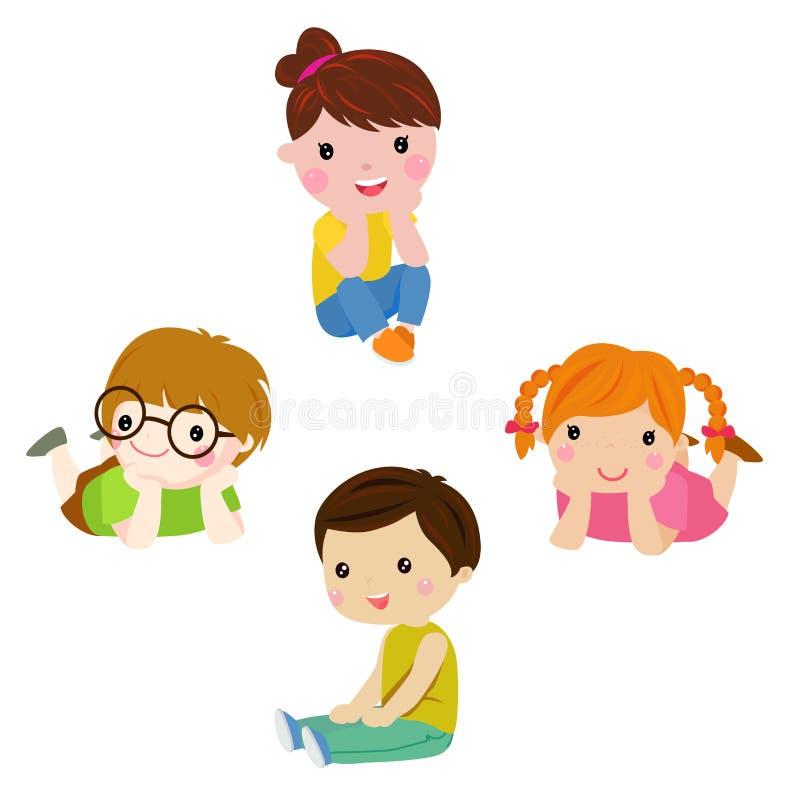 Cztery dziecka siedzi lub kłama ilustracja wektor