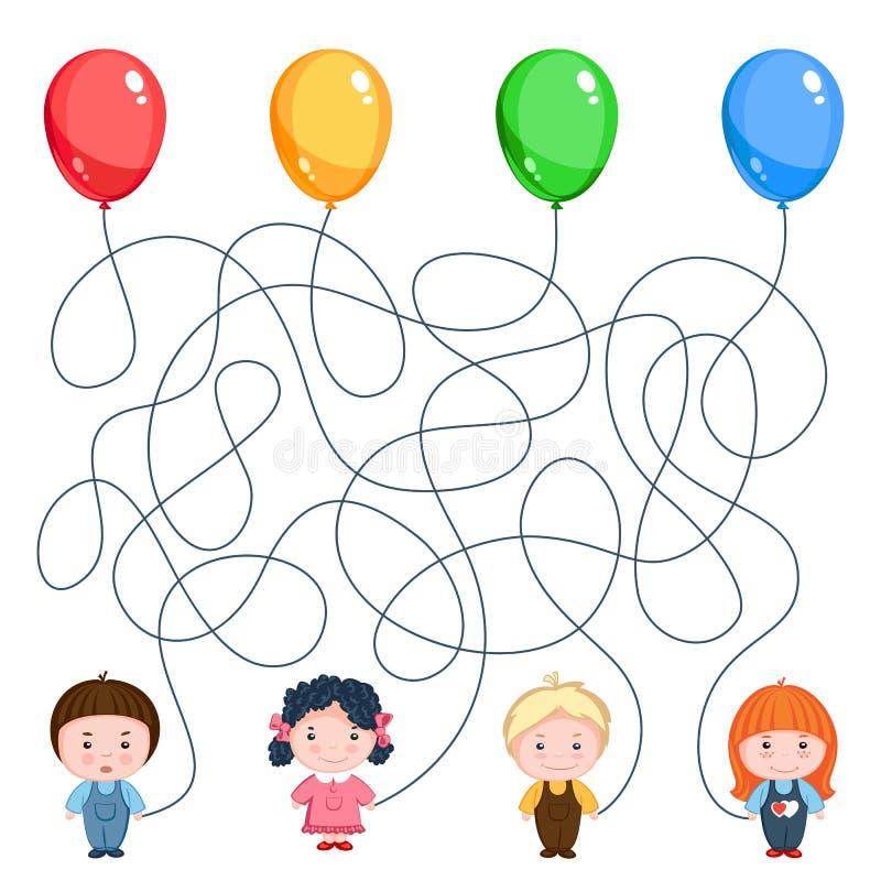Cztery dziecko chwyta balonu ilustracji