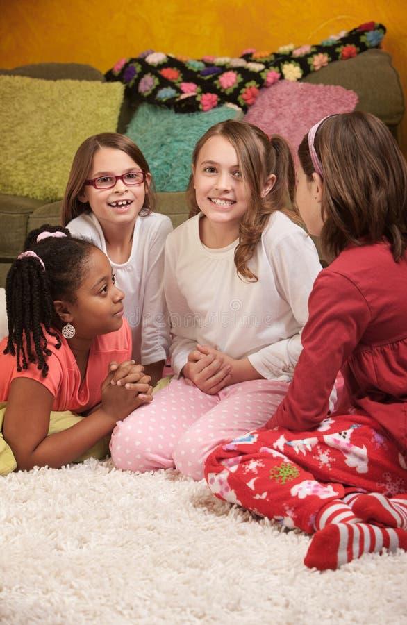 cztery dziewczyn sleepover fotografia royalty free