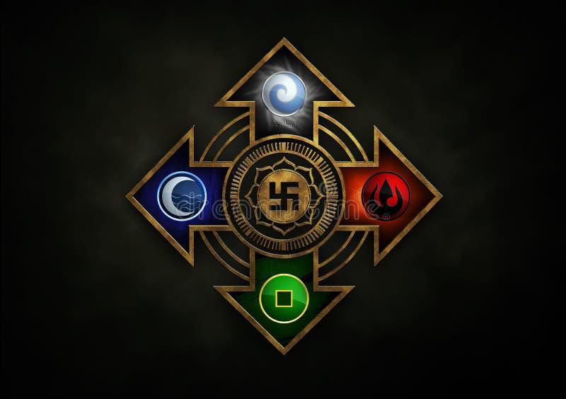 Cztery 4 elementu symbolu złotego strzałkowatego anasir ilustrował 3d obrazy stock