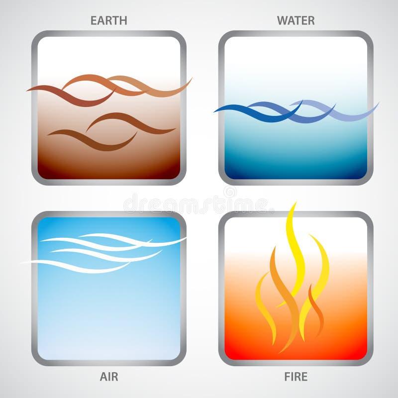Cztery elementu: ziemia, woda, powietrze i ogień, royalty ilustracja