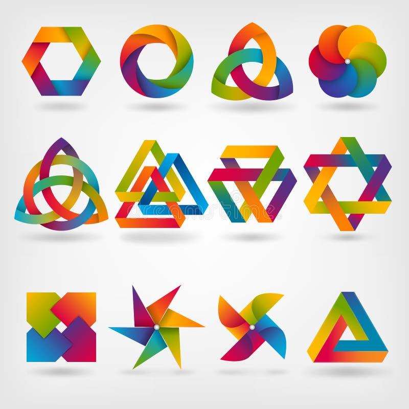 cztery elementy projektu tła snowfiake białego abstrakcjonistyczny symbol ustawiający w tęcza kolorach ilustracja wektor