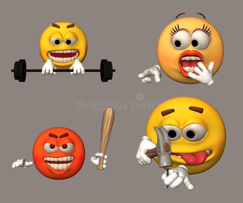 cztery emoticons ilustracja wektor