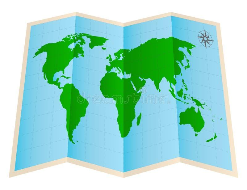 Cztery fałdów światowej mapy papier na białym tle ilustracja wektor
