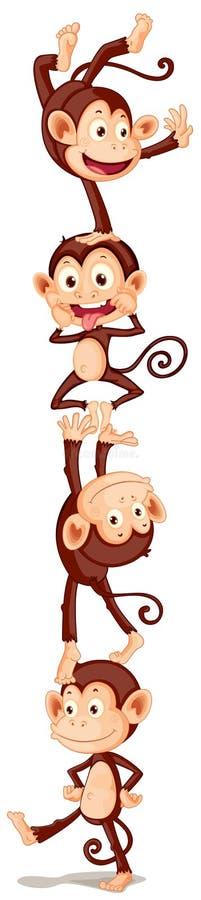 Cztery figlarnie małpy ilustracji