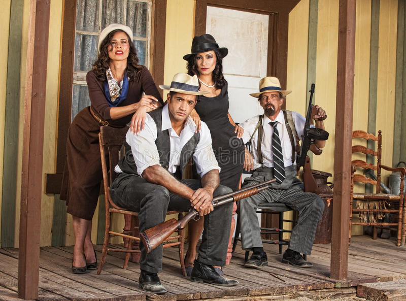 Cztery gangsterów Orężny Siedzieć zdjęcia royalty free