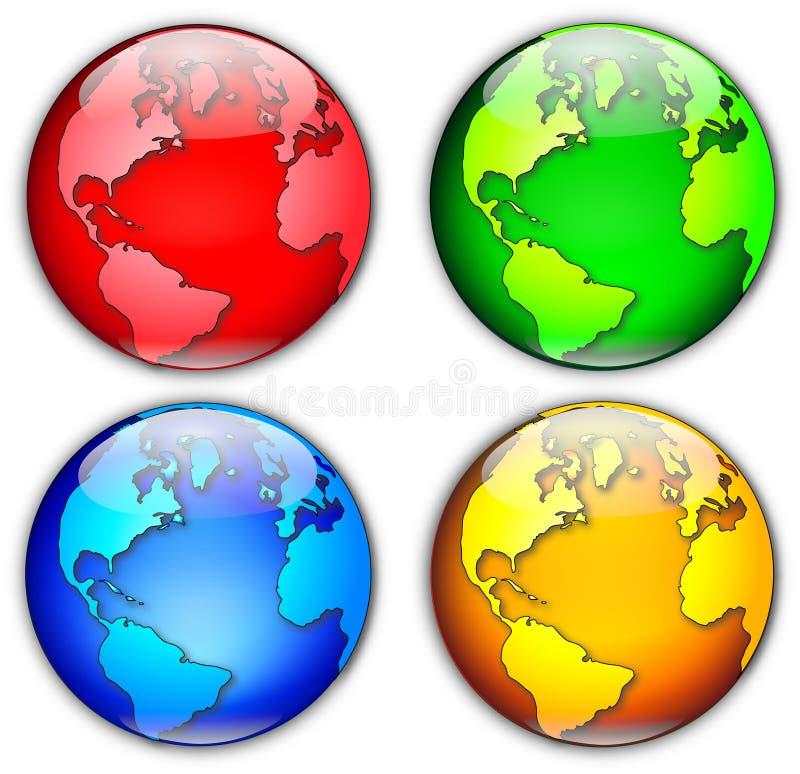 cztery globe ilustracyjnej royalty ilustracja