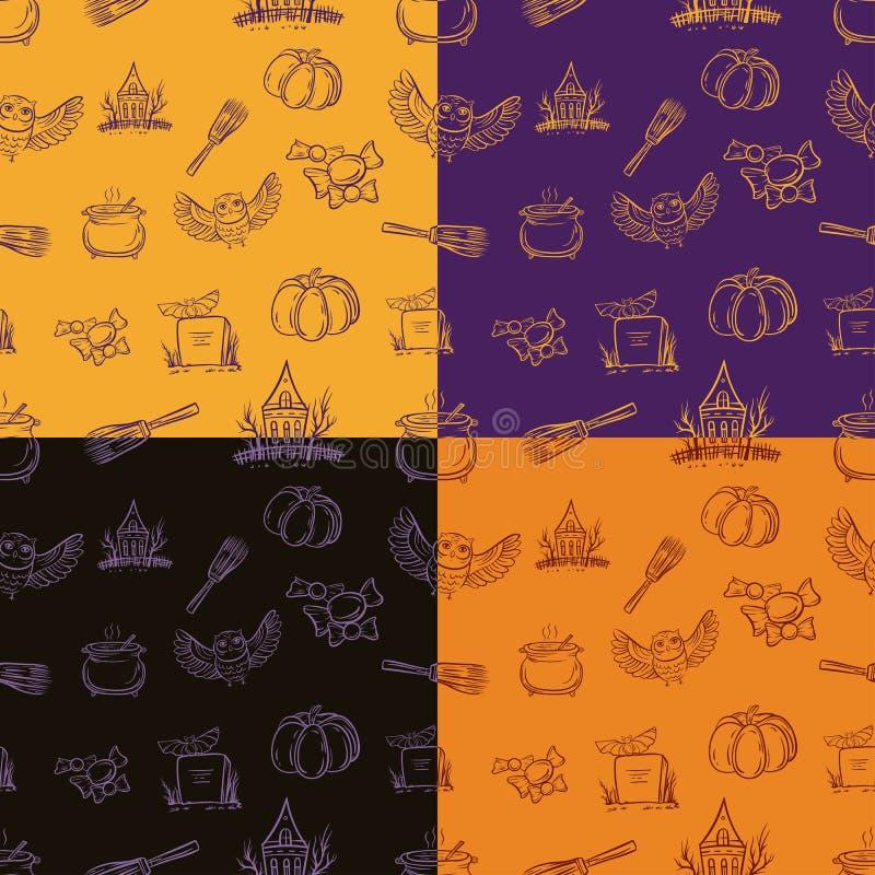 Cztery Halloween bezszwowy wzór z różnymi elementami ilustracja wektor