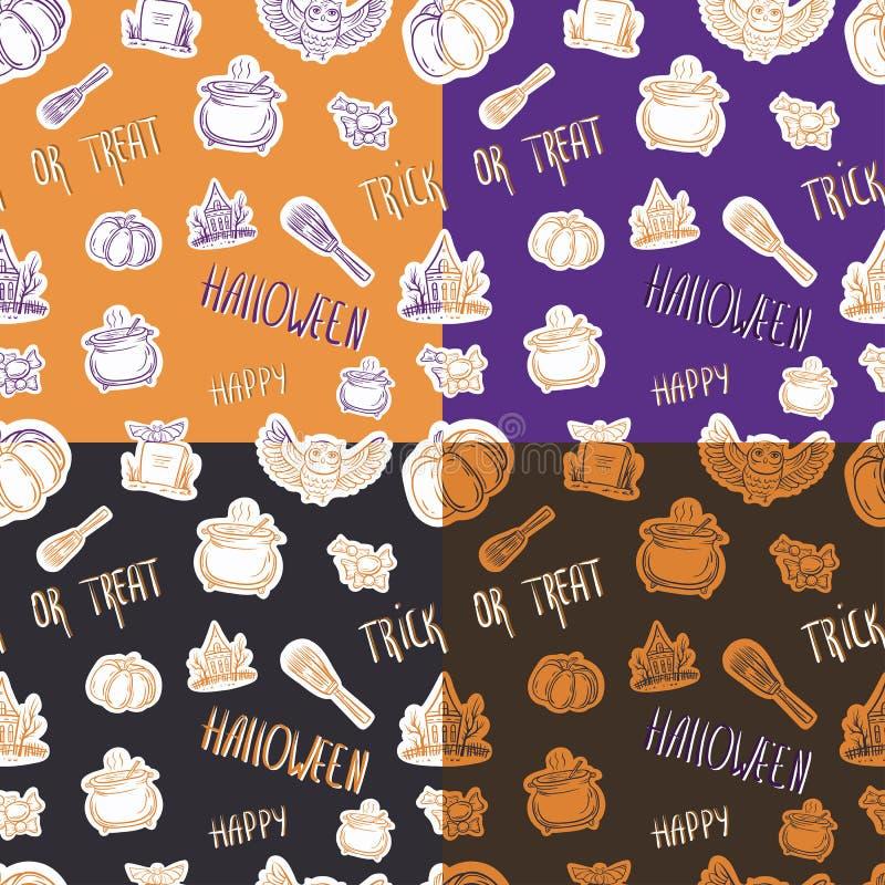Cztery Halloween bezszwowy wzór z różnymi elementami royalty ilustracja