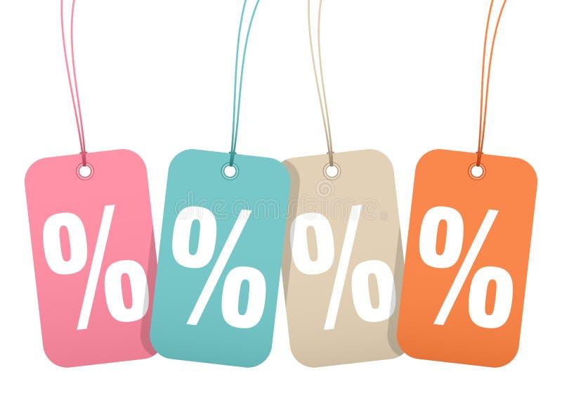 Cztery Hangtags sprzedaży procentu znaków Retro koloru royalty ilustracja