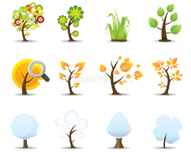 cztery ikon sezonu ustawiający drzewo ilustracja wektor