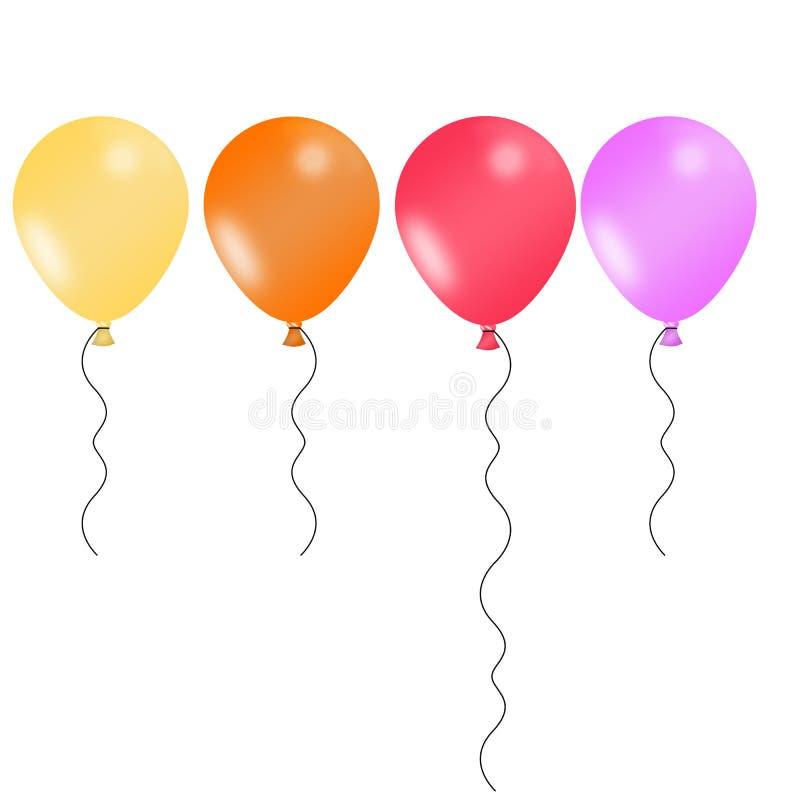 Cztery ilustrującego balonu w radosnych kolorach royalty ilustracja