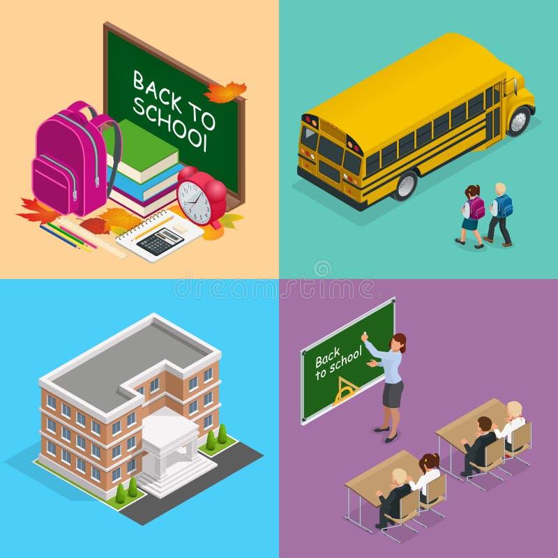Cztery isometric wektorowego sieci pojęcia zarząd szkoły z książkami, plecak, budzik, autobus szkolny i dzieci, ilustracja wektor