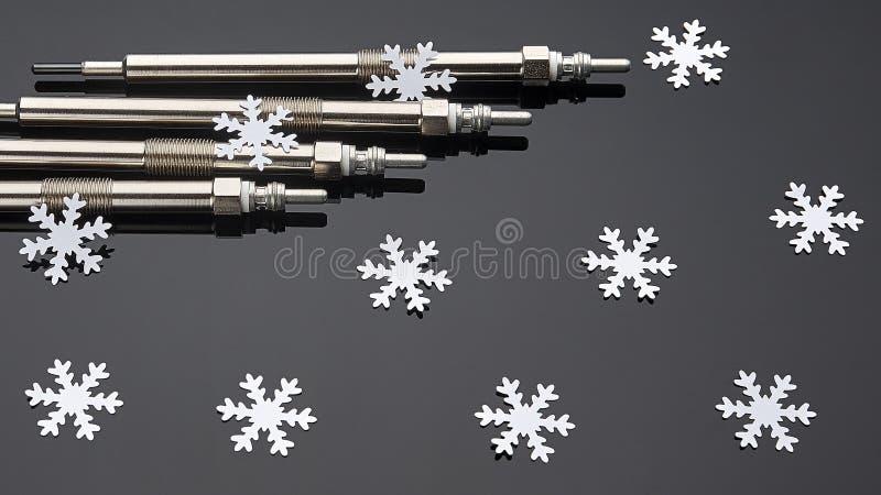 Cztery jarzeniowej prymki dla silnik diesla są istotni zaczynać w zimie fotografia stock