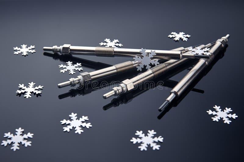 Cztery jarzeniowej prymki dla silnik diesla są istotni zaczynać w zimie obraz royalty free
