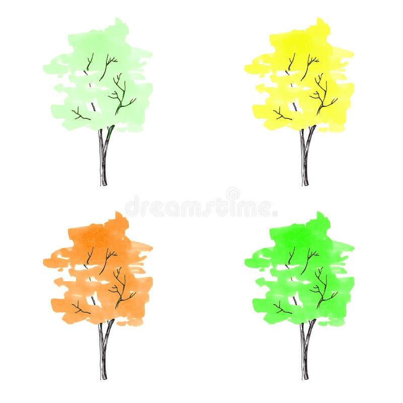 Cztery jaskrawego barwionego drzewa Pociągany ręcznie Akwarela rysunek Cl fotografia stock