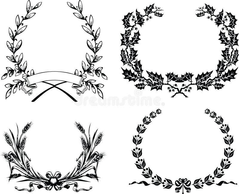 Cztery Jeden koloru Oryginalny Heraldyczny wianek ilustracja wektor