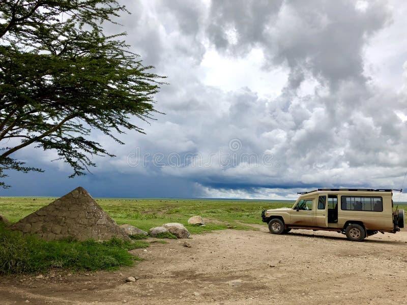 Cztery kół przejażdżki safari pojazd przy wejściową bramą obserwować stada Wildebeest migracja w Serengeti równinach w Tanzania,  obraz stock