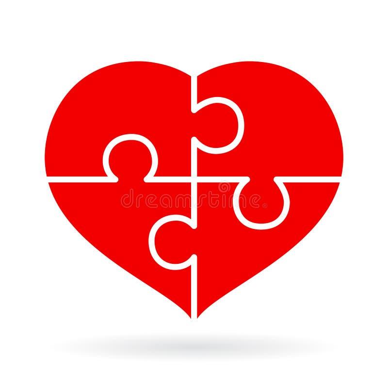 Cztery kawałków łamigłówki serce ilustracja wektor