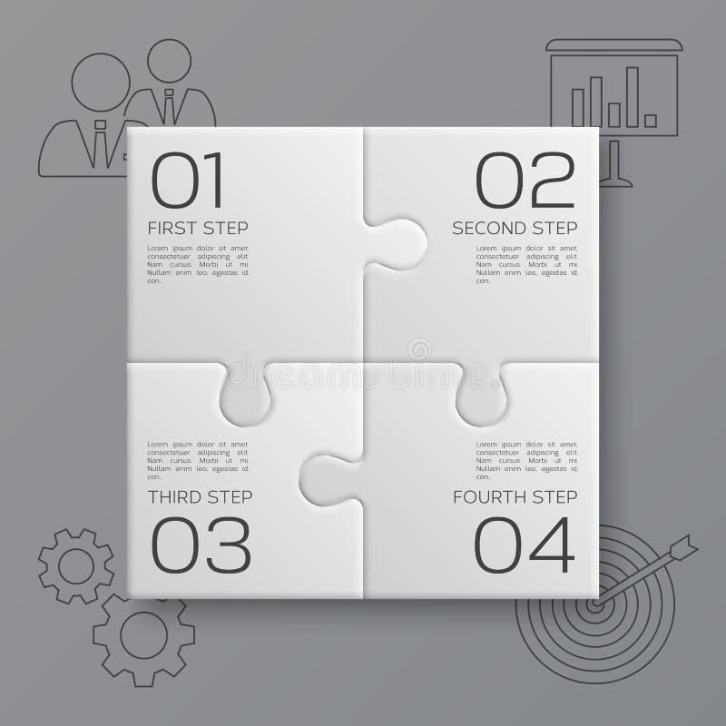 Cztery kawałka łamigłówka Nowożytny biznesowy infographic dla twój prezentaci wektor ilustracja wektor