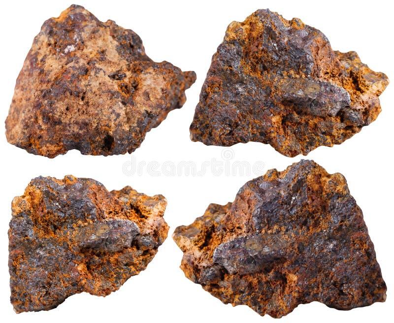 Cztery kawałka hematyt kopaliny kamień (haematite) zdjęcia royalty free