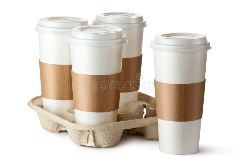 Cztery kawa. W właścicielu trzy filiżanki. fotografia royalty free