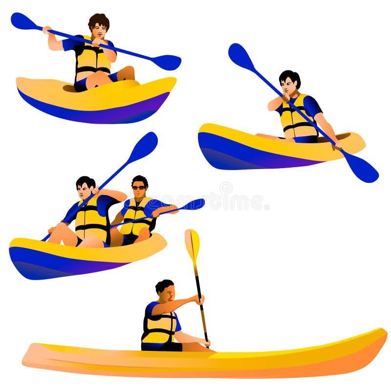 Cztery kayakers odizolowywającej postaci ilustracja wektor