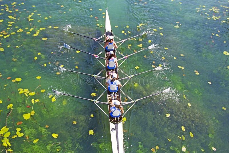 Cztery kobiet wioślarstwa drużyna na błękitnym jeziorze zdjęcia royalty free