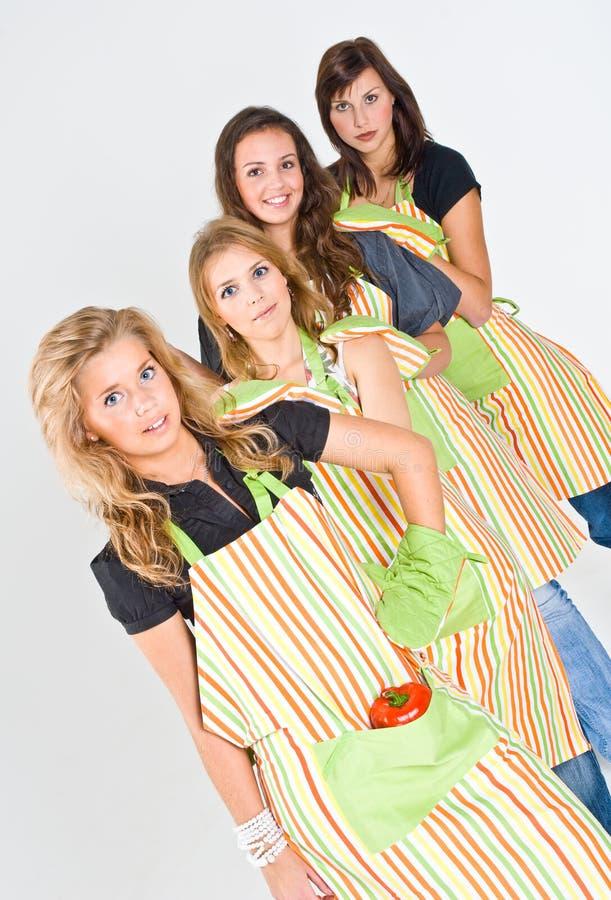 cztery kobiety gotować fotografia royalty free