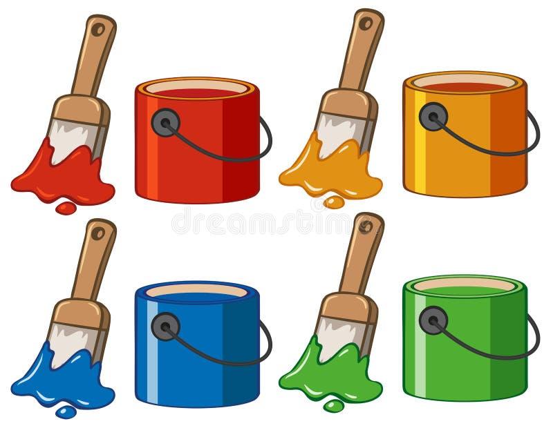 Cztery kolor w wiadrach i paintbrushes ilustracja wektor