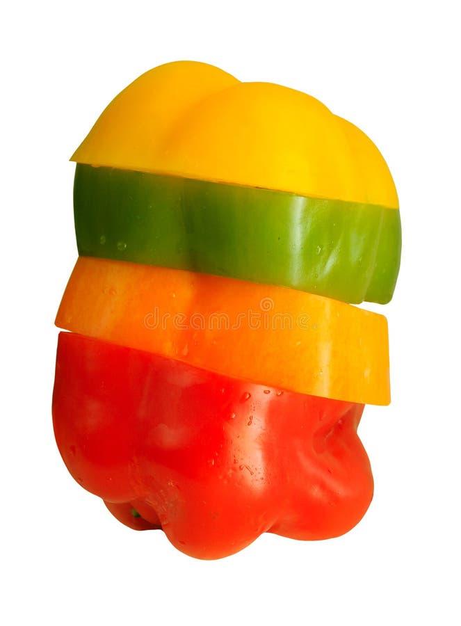 Cztery kolorowego dzwonkowego pieprzu obraz stock