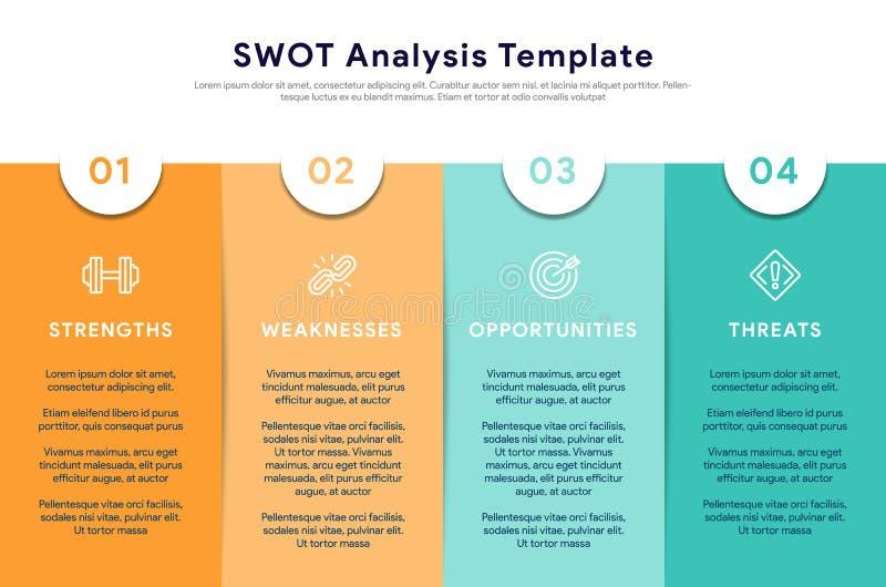 Cztery kolorowego elementu z tekstem umieszczającym wśrodku stołu Pojęcie analizy planowania strategicznego lub szablonu technika royalty ilustracja