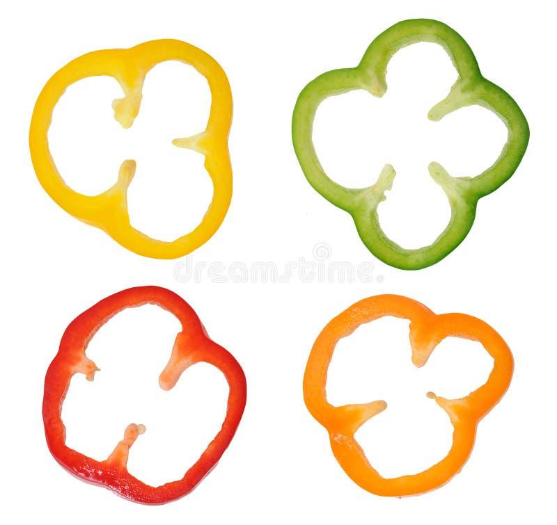 Cztery kolorowego plasterka dzwonkowy pieprz zdjęcie royalty free