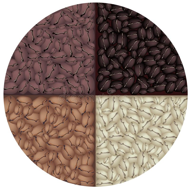 Cztery koloru Piec kawa w okręgu tle ilustracji
