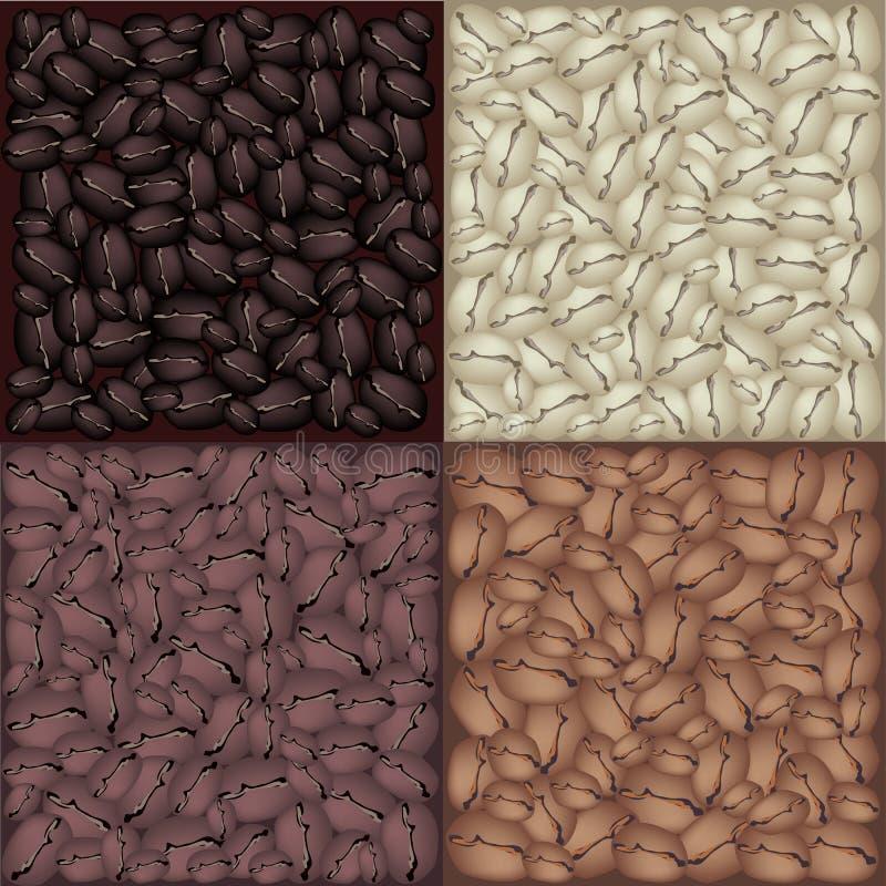 Cztery koloru Piec Kawowych fasoli tło royalty ilustracja
